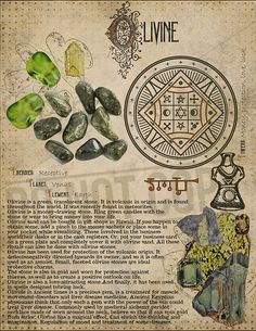 Olivine, Book of Shadows printable page. Crystals And Gemstones, Stones And Crystals, Grimoire Book, Crystal Magic, Crystal Meanings, Practical Magic, Magic Book, Book Of Shadows, Healing Stones