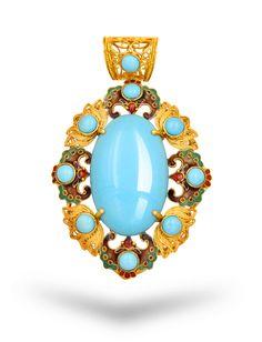 turquoise 高瓷高蓝绿松石 天然无处理绿松石 睡美人 Completely natural--深圳市莲生珠宝首饰有限公司