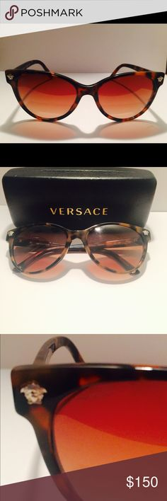 Versace Leopard Cat eye Sunnies ( Italian) Dark brown and tan leopard cat eye sunglasses ..... Purchased in Milan new with case and dust cloth and box Versace Accessories Sunglasses