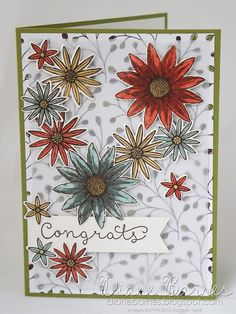 congrats card using Stampin Up Grateful Bunch stamp & punch bundle & Wildflower Fields dsp. By Di Barnes for Just Add Ink  295. 2016 Occasions Catalogue & Saleabration  #colourmehappy