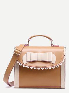 Khaki Color Block Bow Crossbody Bag Bow Purse d2536708df5f0