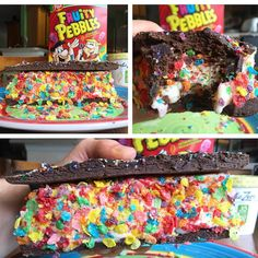 Fruity Pebbles Cake Batter Brownie Ice Cream Sandwich!  Well my friends...... That was so epic!! I told you in my earlier post that I was going to put to use some of that @arcticzero ice cream they sent me in that care package! So I went for the cake batter pint and put the whole thing between my homemade confetti brownies and then covered with some always beautiful fruity pebbles to create something epic!  Macros: 397 cals, 72g carbs, 3g fat, 28g protein  Just look at how massive this ...