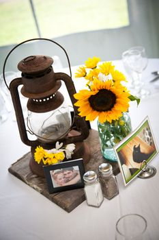 This example of a center piece display is a great mix between rustic and personal.