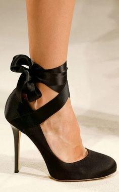 Alberta Ferretti, S/S 2014.  Great idea - black ribbon to up-cycle old black heels.