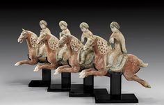 ANCIENT CHINESE POTTERY   Four Tang Court Lady Equestrians, terracotta.Tang dynasty.