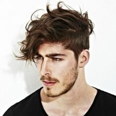 mens short sides long fringe curly hairstyle and haircut