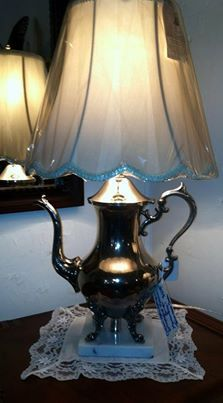 lamp from old tea pot