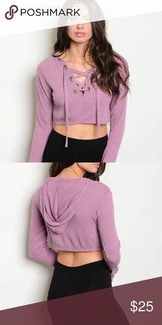 LAVENDER LACE-UP TOP Super cute! Dress up or down with this cute lavender lace up hoodie shirt Tops Sweatshirts & Hoodies