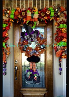 Made this one today but it already sold!! Adorable witch deco mesh wreath with witch hat and witch legs. It went to a good home! Custom wreaths by Bethany Arriola 2014 halloween