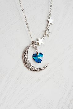 Crescent Moon, Stars, & Heart Necklace