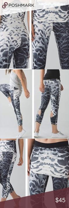 Lululemon Wunder Under Pant SE Roll the waistband down to cover your bum or where it high during a chilly morning on your way to class. Four way stretch Full on Luon fabric is sweat wicking and gives incredible support and coverage with a cottony soft feel. Tight fit adjustable rise 7–8 length size for color gray off-white AQOP Size 6 lululemon athletica Pants Track Pants & Joggers
