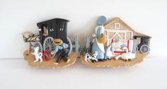 Amish Wall Plaques Set of 2 Burwood Products USA 1995 by LilBatsInTheAttic on Etsy