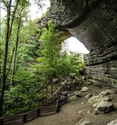 Climb the stairs to hike right underneath the arch. Make sure to stay on the designated path.