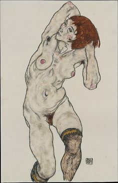 Standing Nude in Black Stockings    Egon Schiele (Austrian, Tulln 1890–1918 Vienna)    Date: 1917  Medium: Watercolor and charcoal on paper  Dimensions: H. 18-1/8, W. 11-5/8 inches (46 x 29.5cm.)