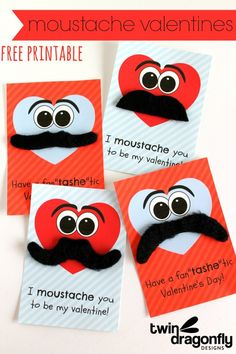 Moustache Valentine with free printable