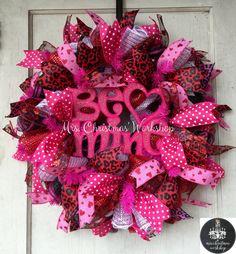 Deco mesh wreath Valentine wreath be mine by MrsChristmasWorkshop