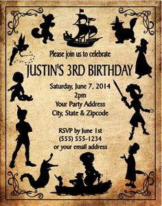 Peter Pan Baby Shower Birthday Party Invitations