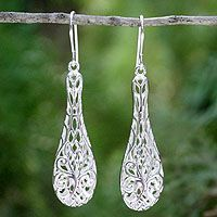 Sterling silver dangle earrings, 'Thai Lace'  Today's Price: $41.49