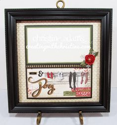 Love this Christmas picture frame using the Yuletide Paper pack and Close To My Heart's 12x12 Shadow box frame that makes changing out seasonal pictures so easy. Thanks for a great idea from Creating with Christine!