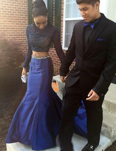 Two Pieces Prom Dresses,High Neck Sheath Prom Dresses,See Through 2 Pieces Evening Gowns,Wedding Party Dress,Royal Blue Prom Gown,long sleeves prom dresses