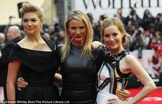 Triple threat: Kate, Cameron and Leslie appeared to be having a whale of a time on the red carpet