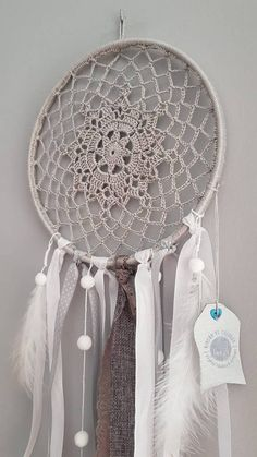 Crochet Dreamcatcher, Crochet Mandala, Crochet Art, Crochet Patterns, Big Dream Catchers, Blue Dream Catcher, Large Dream Catcher, White Wall Clocks, Boho Wall Hanging