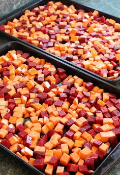 Roasted Beets and Sweets with Brown Butter Maple Glaze roast in the oven with olive oil, salt and pepper. Beet Recipes, Vegetable Recipes, Vegetarian Recipes, Cooking Recipes, Healthy Recipes, Cooking Games, Potato Recipes, Roast Recipes, Side Dishes