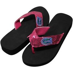 Florida Gators Ladies Sequin Wedge Flip Flops - Pink