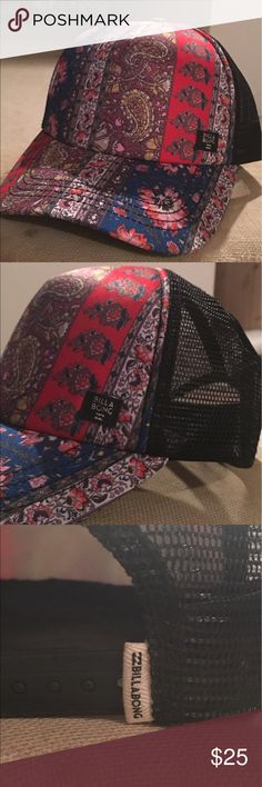 NWOT Billabong Trucker style hat ☀️☀️ NWOT Billabong trucker style hat! Never worn or tried on, as I received it as a present. Absolutely on TREND!!!! Multi colored with black mesh back. ☀️☀️☀️☀️ Billabong Accessories Hats