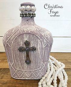 Repurpose a Crown Royal Liquor Bottle - Christina Faye Repurposed - Repurpose a Crown Royal liquor bottle. Transform a liquor bottle into a charming piece of home deco - Liquor Bottle Crafts, Alcohol Bottles, Diy Bottle, Bottles And Jars, Bottle Art, Glass Bottles, Bottle Lamps, Painted Bottles, Old Liquor Bottles