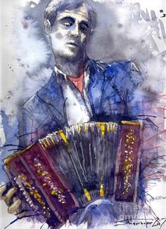 Yuriy Shevchuk, Jazz Concertina Player - Born in 1961 in Kiev, Ukraine, Yuri Shevchuk attended the Kiev Art School and the prestigious Kiev Architectural Academy. Yuriy has recorded his own experiences in his artworks: his three passions, painting, jazz and historical cars have become the focus of his paintings. Bewitched with jazz music he skillfully and rapidly sketches the cool and charming figures of musicians in action, showing the positive mood and spiritual intensity of jazz.