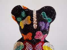 French Bruno by J. Edelweiss, French, Halloween, Pink, Bulldog Breeds, Rhinestones, Crystals, Kunst, French People