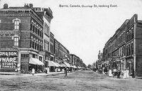 Dunlop Street, Barrie 1908 Looking East (B&W)