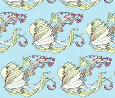 seaweed in current, blue fabric by annemclean on Spoonflower - custom fabric
