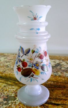 Antique Bristol Glass Vase White Hand Painted Enamel