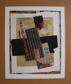 """Eunice Parsons  - """"Kanji""""  -  mixed media collage, 2011  (Note use of collage between inner mat & art)"""