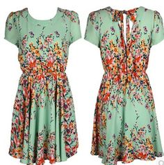 Europe in summer 2014 after a light green background color chiffon deep V halter fashion casual short-sleeved lace dress  xjh227