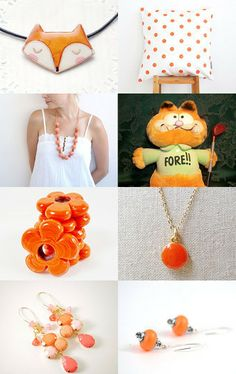 "For pretty orange stuff, check this Etsy treasury ""Orange"" by Annemarie. Do not forget to find my necklace :)"
