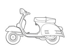 Vespa Rally 200 illustration. Perfect for planning out potential paint schemes. Image appropriated from the depths of cyperspace. Please contact me if you know who I can credit for this awesome illustration.