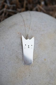 hello kitty pendant cat necklace sterling silver by LolaAndCash, $40.00