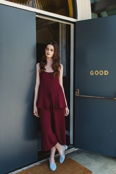 Rachel Comey Passage Top in Wine, Rachel Comey Monterey Pant in Wine, Nikki Chasin Brandy Sparkle Turtleneck in Blush, and Maryam Nassir Zadeh Susan Slingback in Sky Blue Suede www.shopnonna.com #rachelcomey #maryamnassirzadeh #nikkichasin