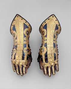 """met-armsarmor: """" Pair of Gauntlets Belonging to the Armor of Duke Friedrich Ulrich of Brunswick via Arms and Armor Medium: Steel, gold, leather, textile, copper alloyGift of William H. Armadura Medieval, Ancient Armor, Armor Clothing, Medieval Weapons, Knight Armor, Arm Armor, Vanitas, Medieval Fantasy, Elmo"""