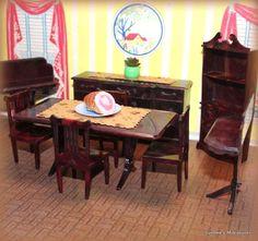 """ELEGANT DINING ROOM Vintage Dollhouse Furniture 3/4"""" FITS RENWAL #PlascoJPCO"""