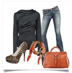 what to wear - #leopard shoes splash of orange #fallfashion #Fossil Handbag