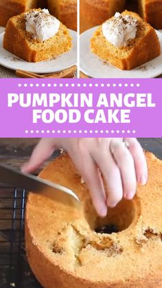 PUMPKIN ANGEL FOOD CAKE The perfect, quick, and easy fall dessert! This Pumpkin Angel Food Cake is light and airy with a hint of pumpkin! Serve with cool whip, then sprinkle with cinnamon and its ready to eat! Save this pin! Dessert Party, Food Cakes, Cupcake Cakes, Bundt Cakes, Just Desserts, Delicious Desserts, Cake Candy, Cake Mix Recipes, Maple Dessert Recipes