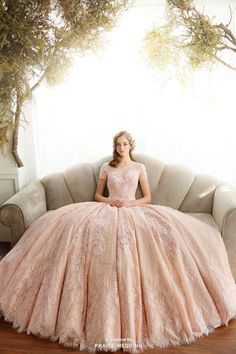 This graceful pink gown from Royal Wed featuring delicate lace detailing is just hard to resist!