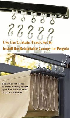 pergola garten Another method is to use the CURTAIN TRACK SET to install the retractable canopy Backyard Pergola, Diy Patio, Patio Ideas, Small Pergola, Outdoor Pergola, Small Patio, Deck Landscaping, Wood Pergola, Wood Patio