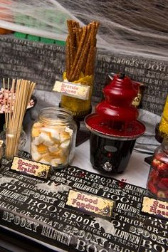 No Halloween Wedding would be complete without a Blood Fondue Bar complete with Brittle Bones, Sponge Brains, Ancient Eyeballs, and Small Hearts.