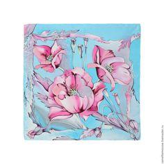 Купить Батик Шелковый платок Розовые маки 90х90 см в интернет магазине на Ярмарке Мастеров