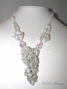 "Vintage Crystal Aurora Borealis AB Cluster Dangle Single Strand Necklace 18"" | eBay"